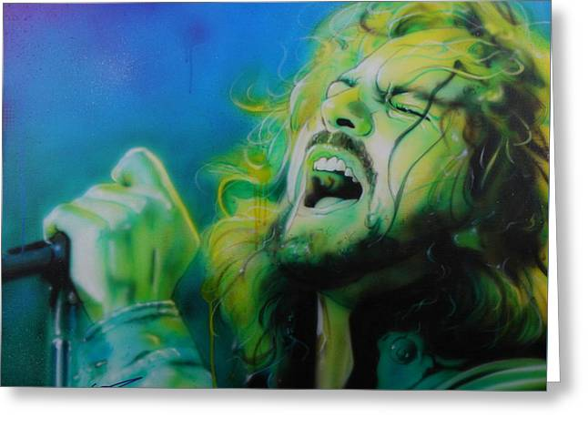 Eddie Vedder - ' Lemon Yellow Sun ' Greeting Card by Christian Chapman Art