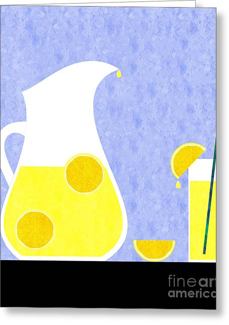 Lemon Art Greeting Cards - Lemonade And Glass Blue Greeting Card by Andee Design