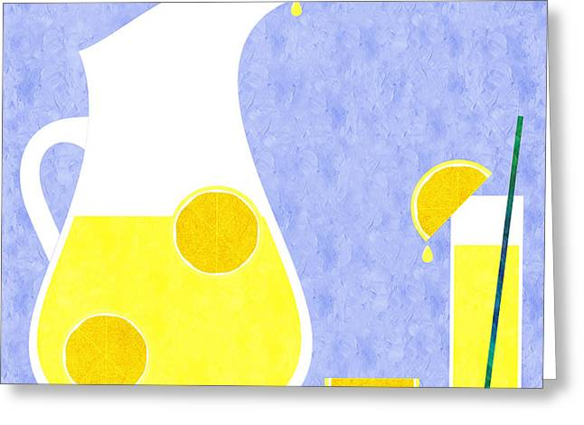 Lemonade And Glass Blue Greeting Card by Andee Design