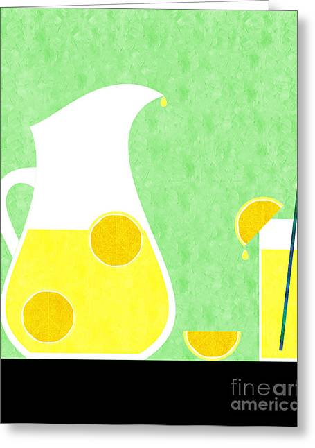 Sweat Digital Art Greeting Cards - Lemonade And Glass Green Greeting Card by Andee Design