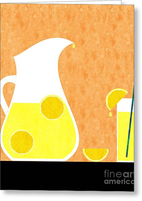 Lemon Art Greeting Cards - Lemonade And Glass Orange Greeting Card by Andee Design