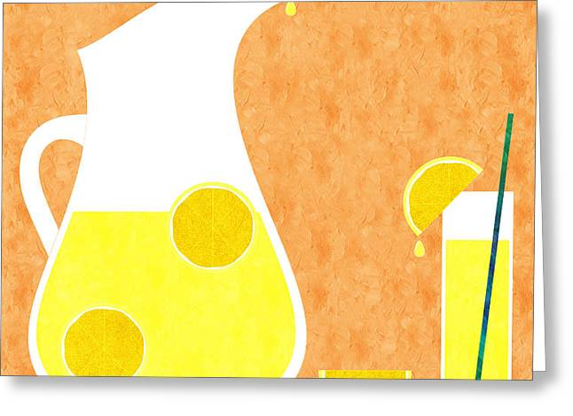 Lemonade And Glass Orange Greeting Card by Andee Design