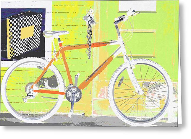 Childrens Sports Greeting Cards - Bicycle Pop Art Print in Lime Orange Greeting Card by ArtyZen Studios - ArtyZen Home