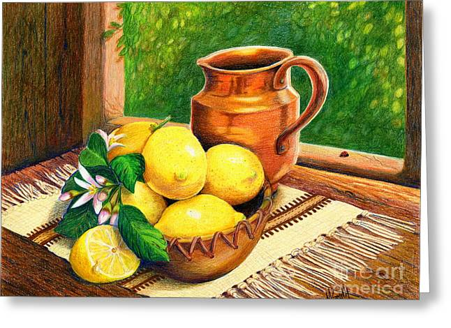 Lemon Art Drawings Greeting Cards - Lemons And Copper Still Life Greeting Card by Marilyn Smith