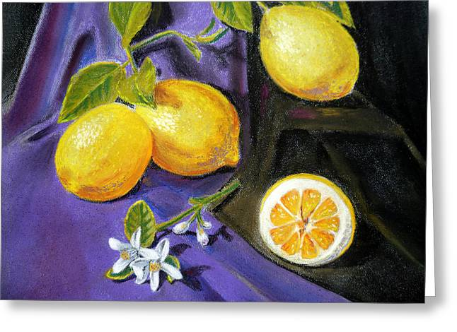 Lemon Art Paintings Greeting Cards - Lemons and Flowers Greeting Card by Irina Sztukowski