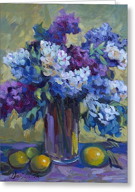 Lilac Greeting Cards - Lemons and Lilacs Greeting Card by Diane McClary