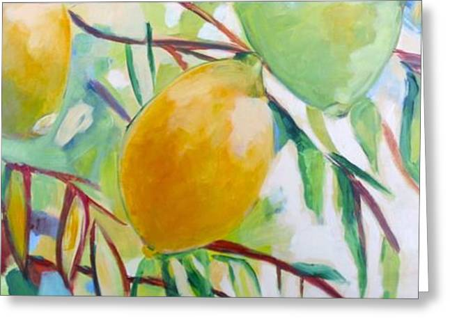 Lemon Art Greeting Cards - Lemons and Lime Greeting Card by Shelley Overton