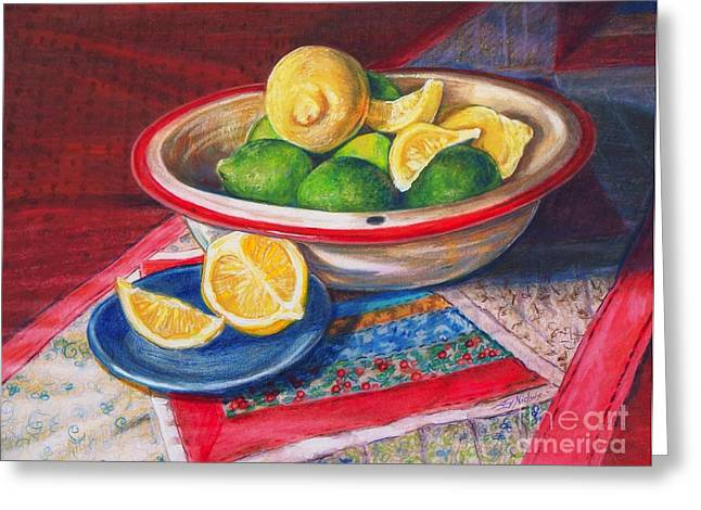 Lemons and Limes Greeting Card by Joy Nichols