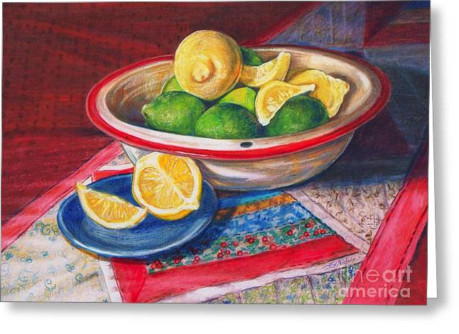 Table Cloth Drawings Greeting Cards - Lemons and Limes Greeting Card by Joy Nichols