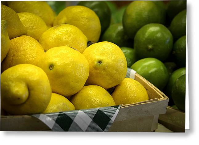 Fresh Produce Greeting Cards - Lemons and Limes Greeting Card by Julie Palencia