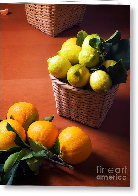Sour Greeting Cards - Lemons and oranges Greeting Card by Sinisa Botas