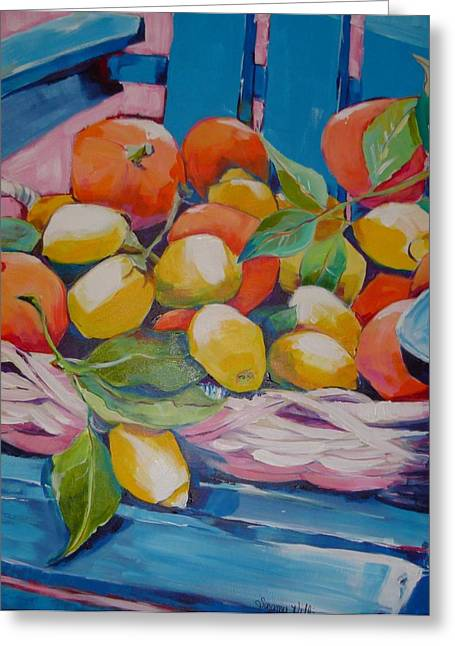 Harvest Time Greeting Cards - Lemons and Oranges Greeting Card by Suzanne Willis