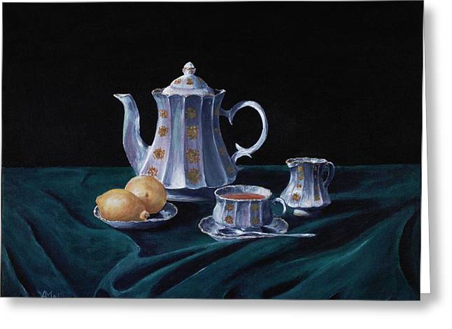 Table Cloth Drawings Greeting Cards - Lemons and Tea Greeting Card by Anastasiya Malakhova