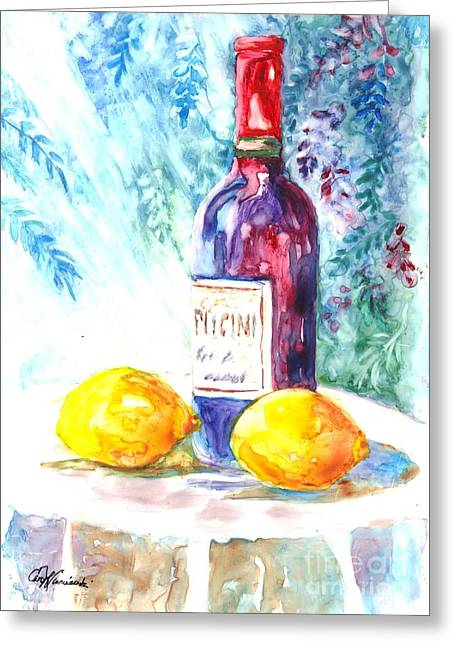 Lemon Art Drawings Greeting Cards - Lemons and Wine and a Little Sunshine Greeting Card by Carol Wisniewski