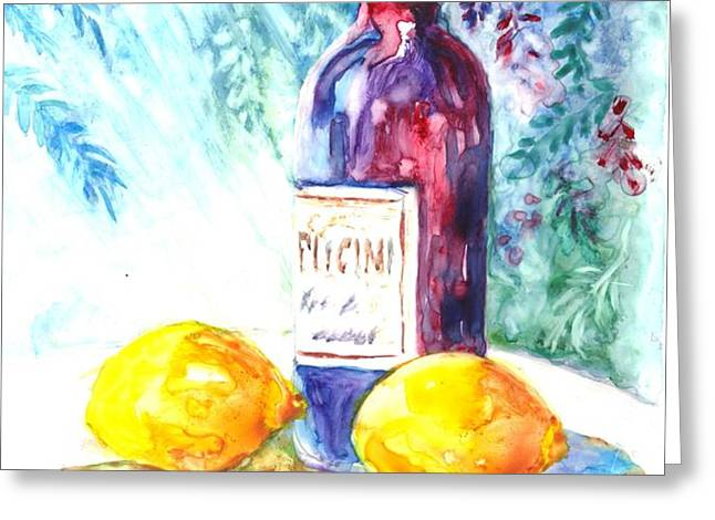 Lemons and Wine and a Little Sunshine Greeting Card by Carol Wisniewski