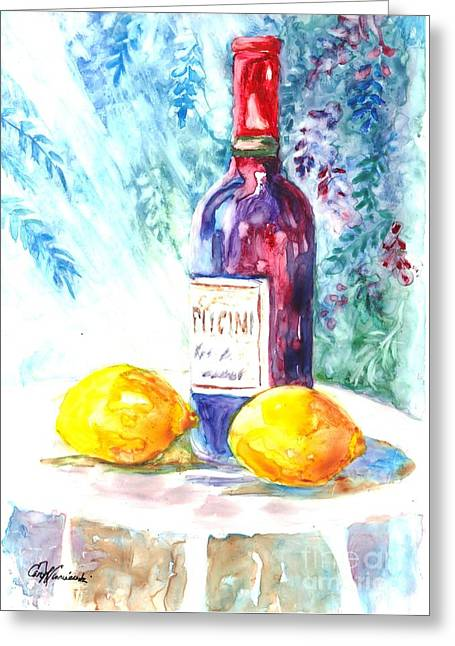 Lemon Art Greeting Cards - Lemons and Wine and a Little Sunshine Greeting Card by Carol Wisniewski