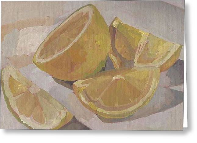 Fruit And Wine Greeting Cards - Lemons Greeting Card by Cynthia G Wilson
