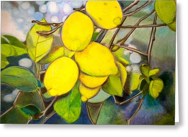 Harvest Art Greeting Cards - Lemons Greeting Card by Debi Starr