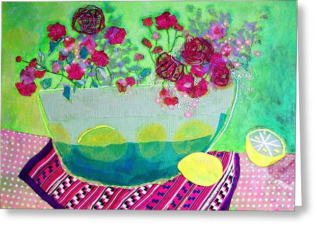 Diane Fine Greeting Cards - Lemons Greeting Card by Diane Fine