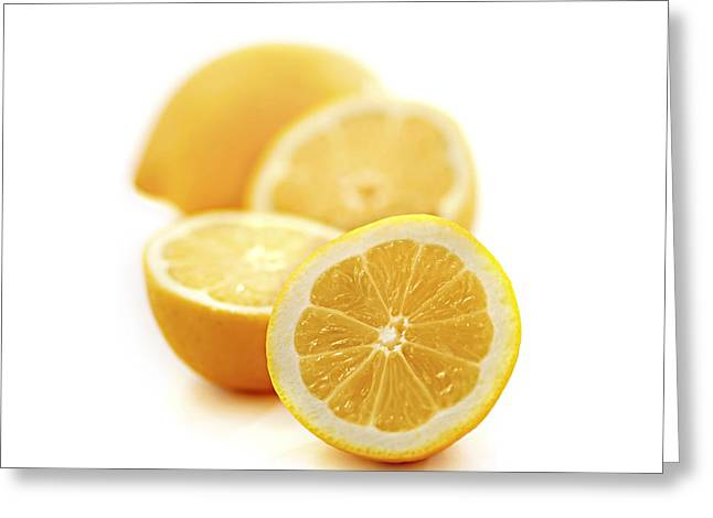 Fruits Photographs Greeting Cards - Lemons Greeting Card by Elena Elisseeva