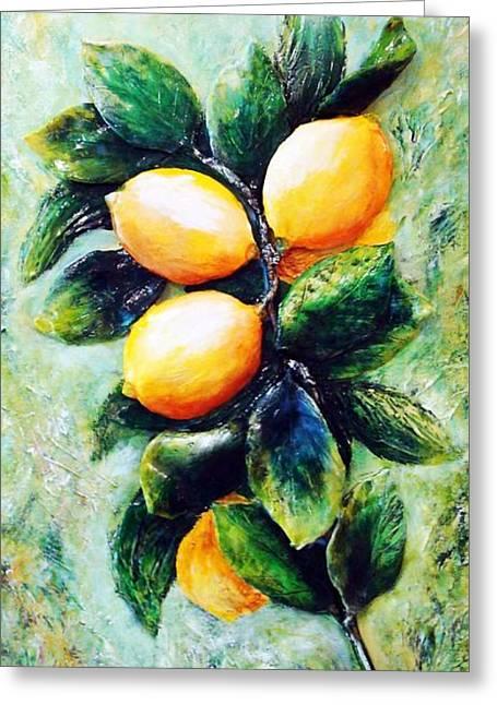 Original Sculptures Greeting Cards - Lemons in sunshine Greeting Card by Raya Finkelson