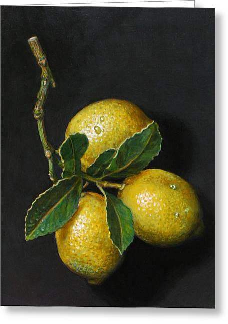 Photorealism Greeting Cards - Lemons on slate Greeting Card by Paul Herman
