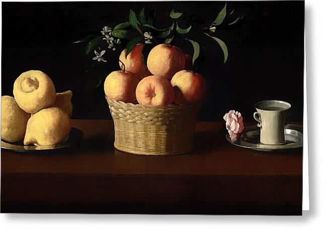 Lemon Art Greeting Cards - Lemons Oranges and a Rose Greeting Card by Zurbaran