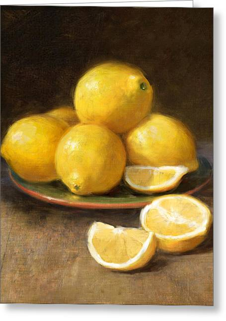 Classical Paintings Greeting Cards - Lemons Greeting Card by Robert Papp