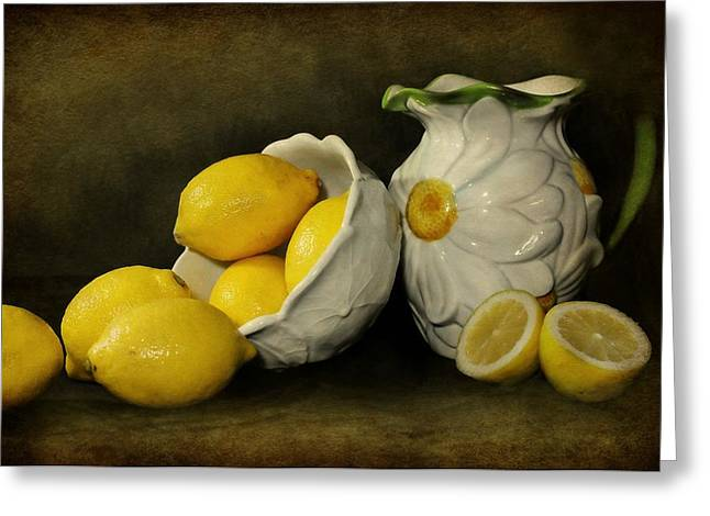 Still Life With Pitcher Greeting Cards - Lemons Today Greeting Card by Diana Angstadt