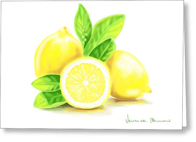Citrus Fruits Greeting Cards - Lemons Greeting Card by Veronica Minozzi