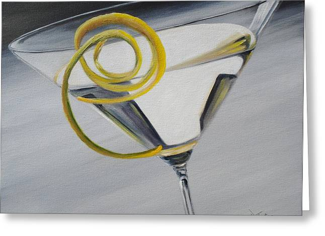 Lemon Art Greeting Cards - Lemontini Greeting Card by Donna Tuten