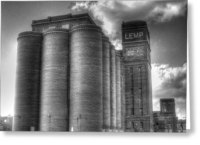Haunted Brewery Greeting Cards - Lemp Brewery black and white Greeting Card by Jane Linders