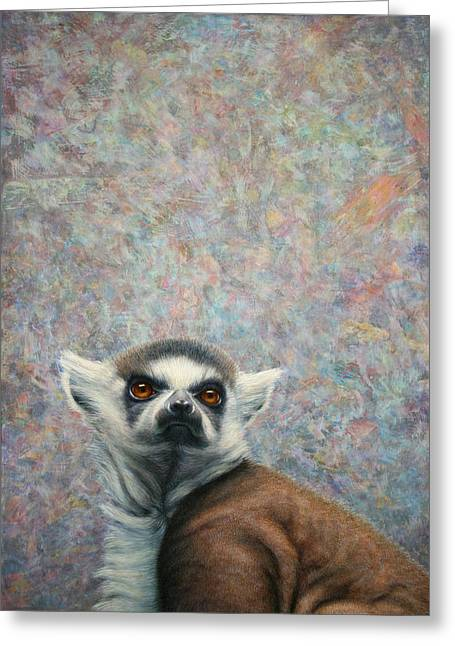 Tails Paintings Greeting Cards - Lemur Greeting Card by James W Johnson