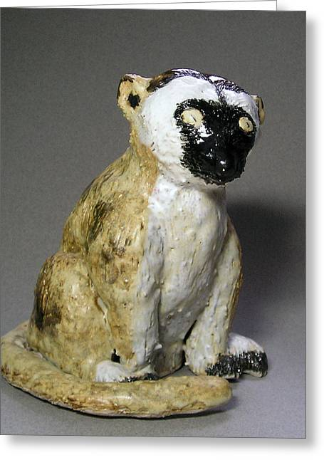 Forest Ceramics Greeting Cards - Lemur Greeting Card by Jeanette K