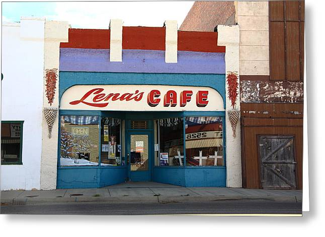 Take-out Greeting Cards - Lenas Cafe Greeting Card by Frank Romeo