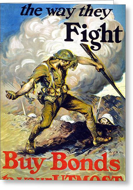 Bravery Drawings Greeting Cards - Lend The Way They Fight, 1918 Greeting Card by Edmund Ashe