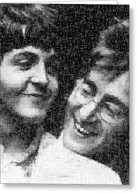 Sgt Pepper Greeting Cards - Lennon and McCartney Mosaic Image 1 Greeting Card by Steve Kearns