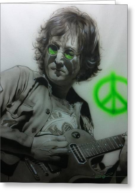 Hippy Greeting Cards - Lennon Greeting Card by Christian Chapman Art