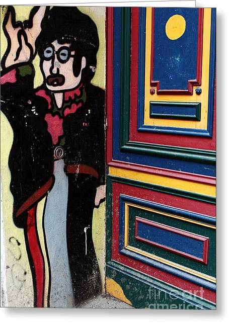 John Lennon Images Greeting Cards - Lennon in Berlin Greeting Card by John Rizzuto