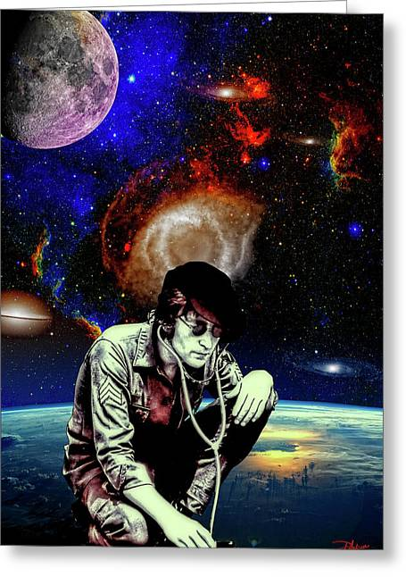 Lennon Mixed Media Greeting Cards - Lennon in The Sky Greeting Card by Dancin Artworks