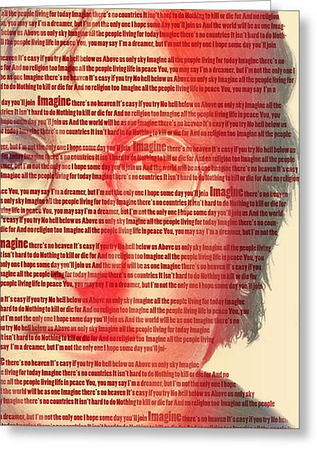 80s Pop Music Greeting Cards - Lennon  Greeting Card by Mark Ashkenazi