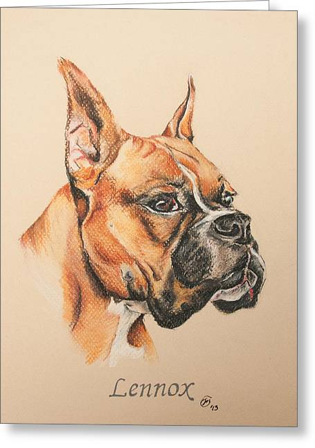 Boxer Pastels Greeting Cards - Lennox Greeting Card by Michael Marcotte