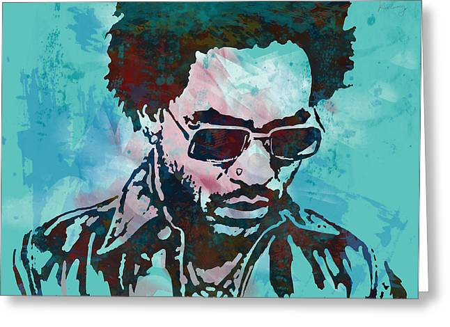 Hard Rock Mixed Media Greeting Cards - Lenny Kravitz - Stylised Etching Pop Art Poster Greeting Card by Kim Wang