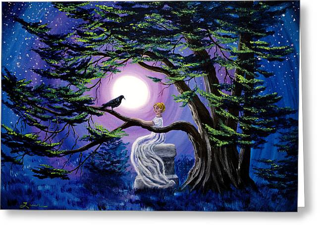 Edgar Allan Poe Greeting Cards - Lenore by a Cypress Tree Greeting Card by Laura Iverson