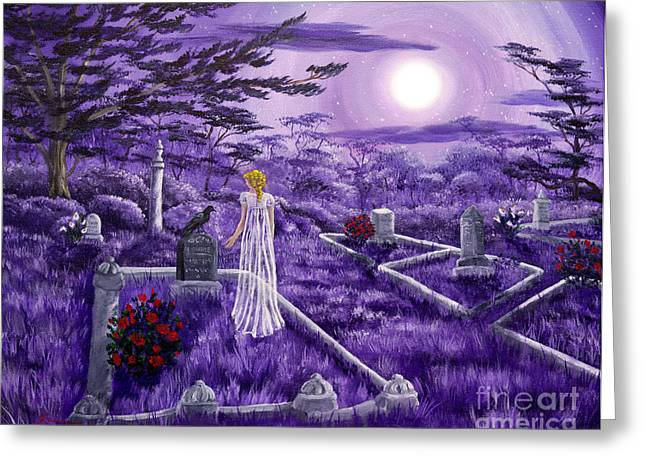 Edgar Allan Poe Greeting Cards - Lenore in Lavender Moonlight Greeting Card by Laura Iverson