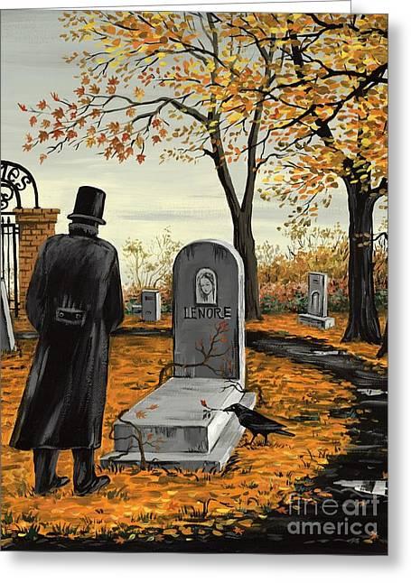 Haze Paintings Greeting Cards - Lenore Lenore Greeting Card by Margaryta Yermolayeva