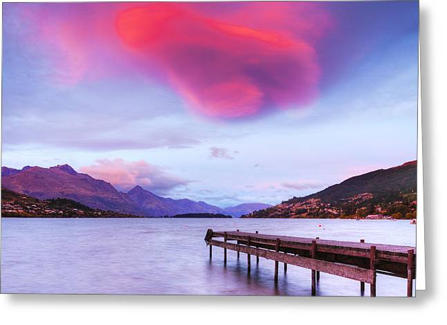 Awed Greeting Cards - Lenticular Cloud Lake Wakatipu Queenstown New Zealand Greeting Card by Colin and Linda McKie