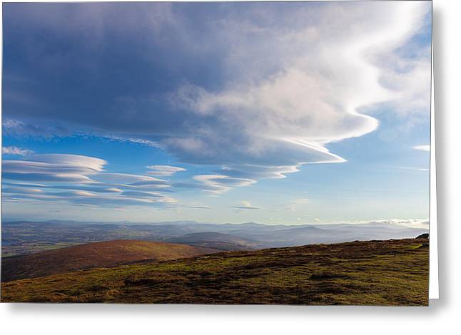 Outlook Greeting Cards - Lenticular clouds forming in Wicklow Mountains Greeting Card by Semmick Photo