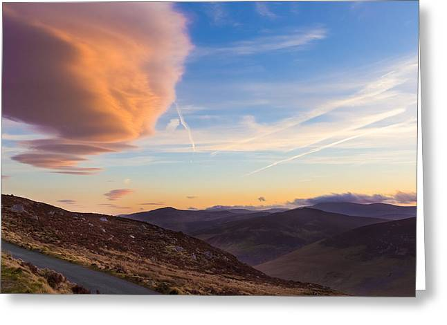 Heathland Greeting Cards - Lenticular clouds over Sally Gap at sunset Greeting Card by Semmick Photo