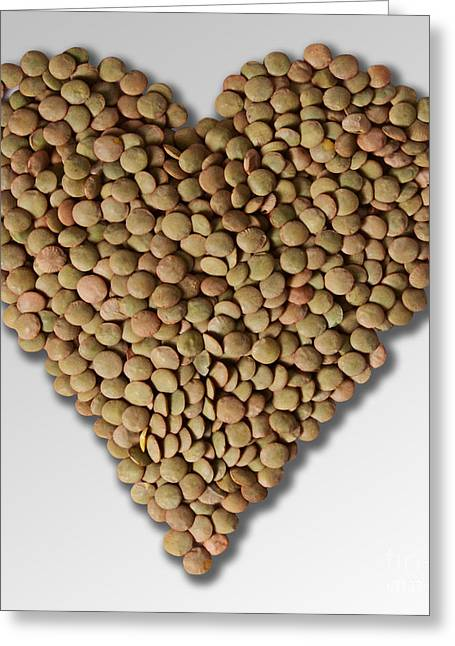 Heart Healthy Photographs Greeting Cards - Lentil In Heart Shape Greeting Card by Gwen Shockey